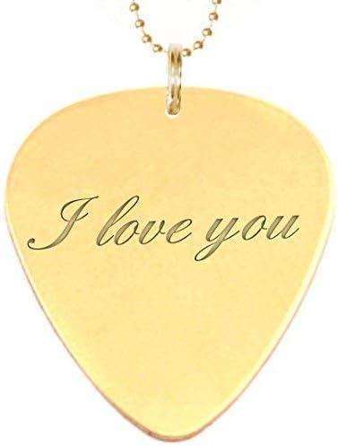 Grabado I love you oro collar de púa de guitarra con ...