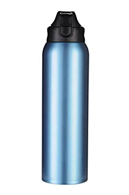 Double Walled BPA Free Vacuum Insulated Sports Water Bottle | Leak-proof Wide Mouth 34 Oz (1 liter) Stainless Steel Water Bottle