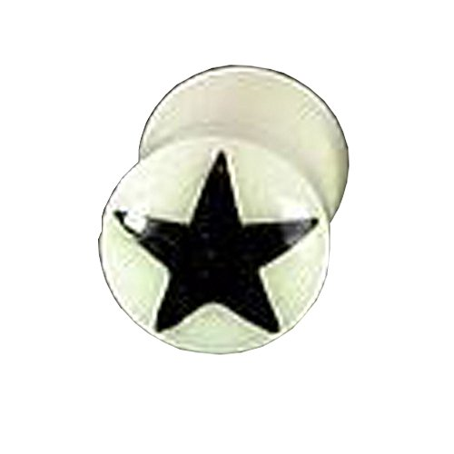 Elementals Organics Bone Ear Plug – Natural Ear Gauge With Black Star Design, 5mm, 4g - Price Per 1 Earring - Organic Bone Ear Plug