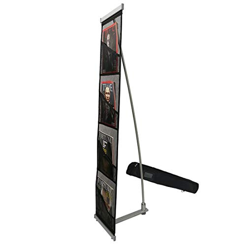 (Haitian Magazine Rack Literature Holder with 4 Pockets, Roll up Mesh Brochure Holder with Light Weight Aluminum Structure,Oxford Carrying Bag Included)