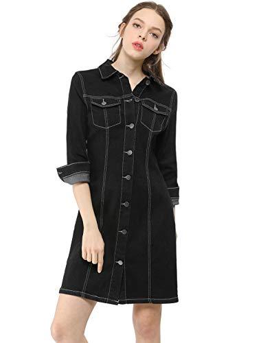 Allegra K Women's 3/4 Sleeve Button Down Denim Shirt Dress XS Black