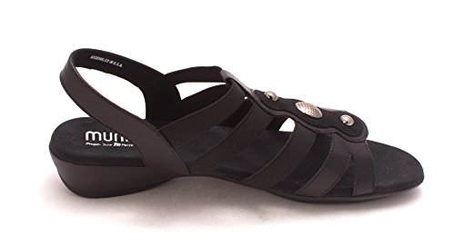 Munro Frauen Offener Zeh Leger Flache Sandalen Black/Leather