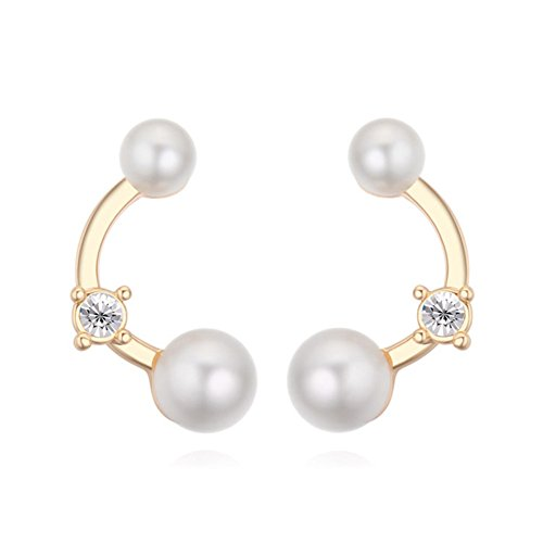 F&U Fashion Gold-Plated Curve With Crystal and Pearl Dangle Drop Earrings Set For Women, - Utopia Earrings Pearl