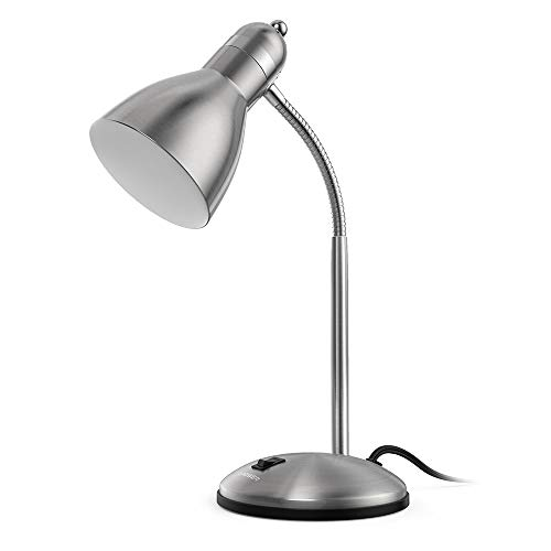 LEPOWER Metal Desk Lamp, Adjustable Goose Neck Table Lamp, Eye-Caring Study Desk Lamps for Bedroom, Study Room and Office (Silver)