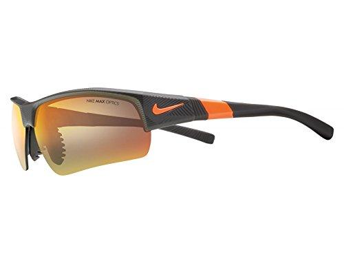 Nike Golf Show X2 XL R Sunglasses, Matte Deep Pewter/Total Orange/Shatter Frame, Grey with Ml Orange Flash by Nike Golf