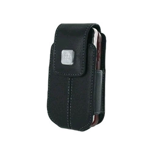 BlackBerry Leather Swivel Holster for BlackBerry 8220 - Black (Leather 8220 Holsters Swivel)