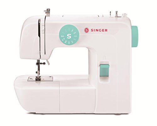 SINGER 1234 Portable Sewing Machine with Free Online Owner's Class and Tote Bag Project, With 6 Built-In Stitches - Fully Automatic 4-step Buttonhole, White/Teal (Machine Sewing Best Portable)