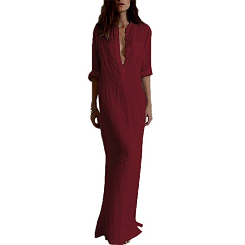 Daxin Women Autumn Cotton Linen Long Maxi Dress Evening Party Beach Shirt Dresses S-XXXL