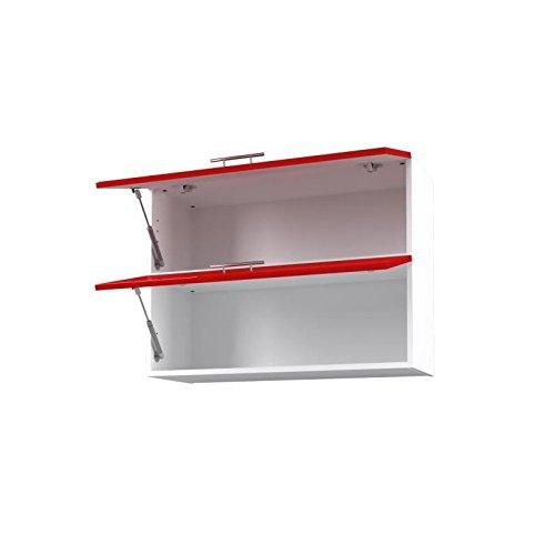 Obi Caisson Haut de Cuisine avec 2 Portes l 80 cm Blanc et Rouge laqu/é Brillant
