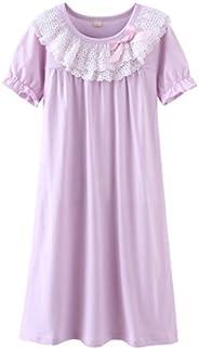 Girl's Lace Nightgowns Sleep Dress 100% Cotton Sleepwear for