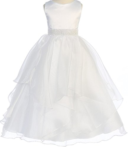 BNY Corner First Communion Flower Girl Dress Satin Organza Bead Embellished Big Girl White 6 CB.302