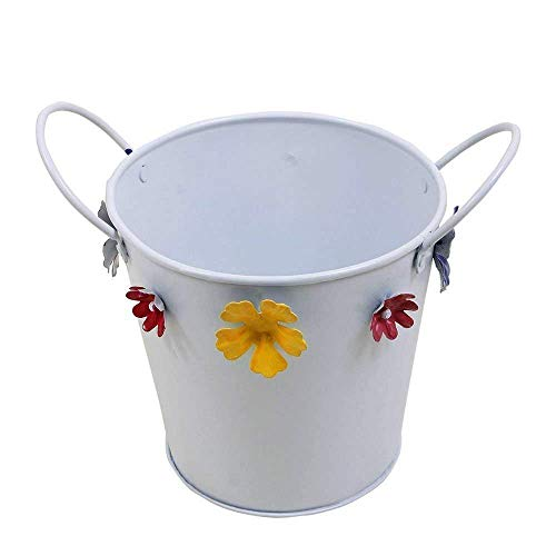 Small Metal Planter with Floral Motifs Plant Containers Standing Window Planters (Round) ()