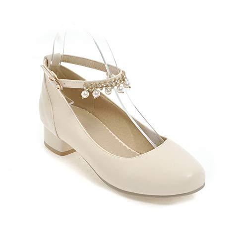 BalaMasa Womens Beaded Solid Fringed Travel Urethane Pumps Shoes APL10418 Beige