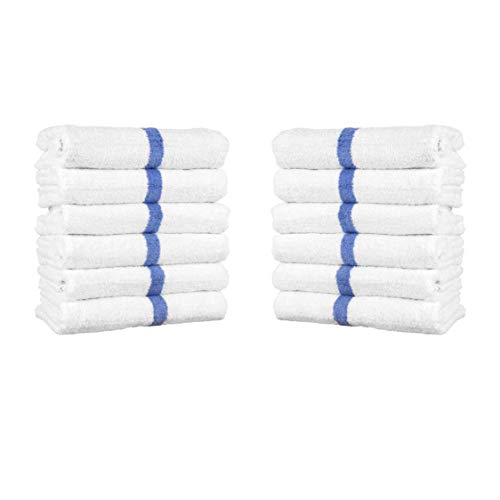 Arkwright White Cotton Bath Towels with Blue Center Stripes | Pack of 12 Absorbent Ringspun Pool Towel for Hotel, Spa, Gym (22 x 44 Inch)