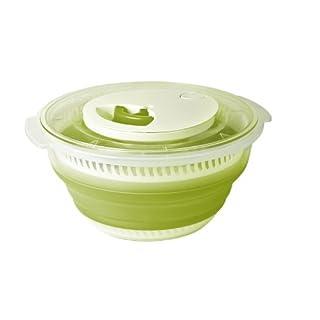 "Emsa Collapsible Salad Spinner""Basic"" 135.26 fl. oz, Green Translucent"