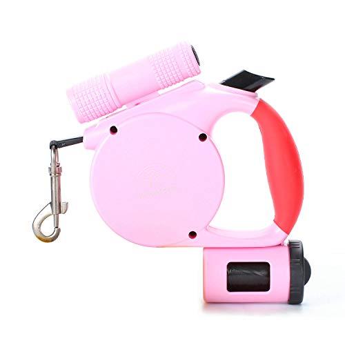 Retractable Dog Leash,88 Pounds per Nylon Dog Leash,13ft Heavy Duty Dog Leash with 360°Tangle-Free Control,Eco-Friendly Material,Flashlight & Bag Dispenser Design,Designer Running Dog Leash (Pink)