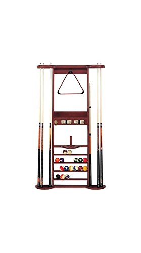 8 Cue Wall Rack w Accessory Hooks & Ball Rack (Pool Ball Counter)