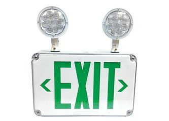 Slim Design All LED Wet Location Outdoor Exit Signs Emergency Light Combo - Green