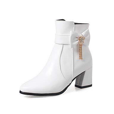 ZHRUI Damenschuhe Kunstleder Herbst Winter Mode Stiefel Stiefel runde Kappe Stiefelies Stiefeletten Schnalle für Freizeitkleid Mandel Rosa Schwarz Weiß Weiß US5.5   EU36   UK3.5   CN35