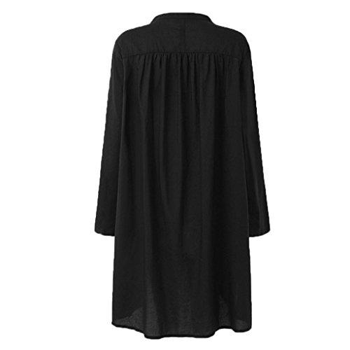 Section Tops Casual En Vêtements Noir Lâche V Manches Couleur Élégant Pure Longue Grande Tee Boutons Chemise Mode Adeshop Chic Femmes Blouse Taille Longues Haut Col HzqZw0xq