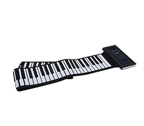 Mamrar 61/88 Key Hand Roll Piano Professional Version Thick Folding Piano Soft Keyboard Portable Beginner Mini Practice Piano,Black,88K