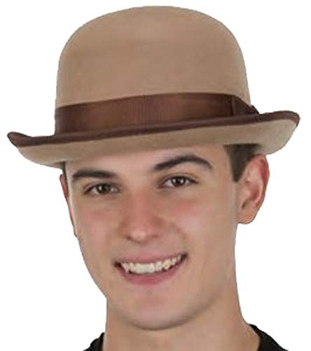 Jacobson Hat Company Men's Roaring 20's Tan Felt Derby Light Brown Bowler Top Hat Costume Accessory ,Tan / Brown ,One Size