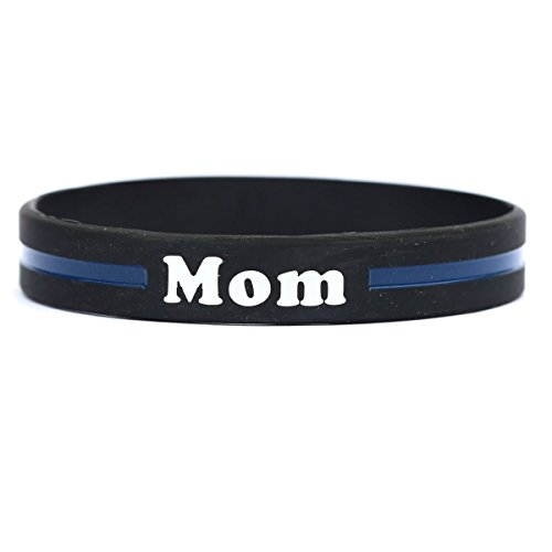 SayitBands Mom Thin Blue Line Silicone Wristband Bracelets Police Officers Patrol Awareness Support