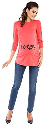shirt Magliette T Gravidanza Top Premaman Love Stampa Ville Zeta Corallo 548c q0CFSS