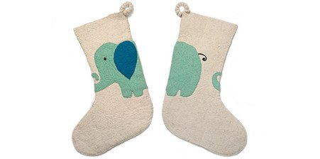 ARCADIA HOME SF20EW Elephant-Christmas Stocking, Cream