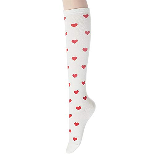 Sockstheway Womens Casual Knee High Socks with Heart Pattern Style (WhiteRed, 1pair)