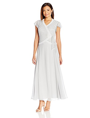 J Kara Women's Petite Faux Wrap Flutter Sleeve Long Dress
