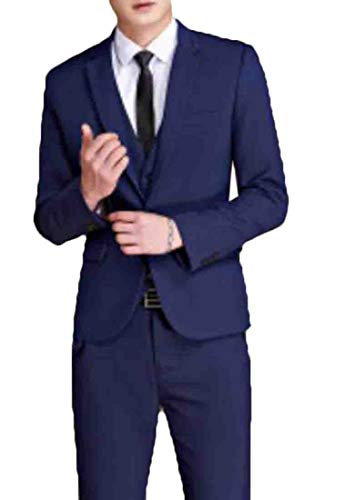 - BU2H Men 2 Piece Suit Elegant Two Buckle Slim Single Breasted Blazer Vest Pants Set Four US XL