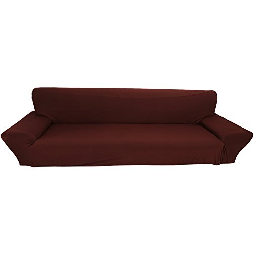 Light Brown Three Seat Sofa - Elastic Anti Wrinkle Couch Covers,Solid Color Stylish Sofa Slipcover 1- 4 Seat Soft Lightweight Slip Resistant Sofa Furniture Protector Cover Fit Many Popular Sofas (4Seat=93