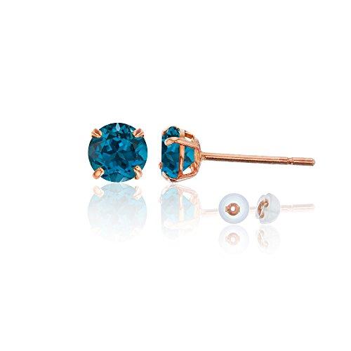 Blue Topaz Rose Earrings - 14K Rose Gold 4mm Round London Blue Topaz Stud Earring