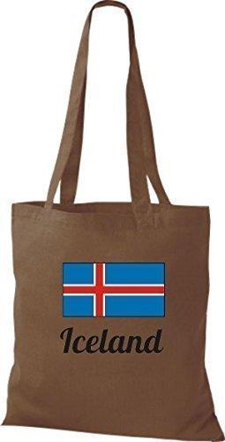 shirtinstyle Tela Bolsa Algodón länderjute Iceland island - fucsia, 38 cm x 42 cm marrón medio