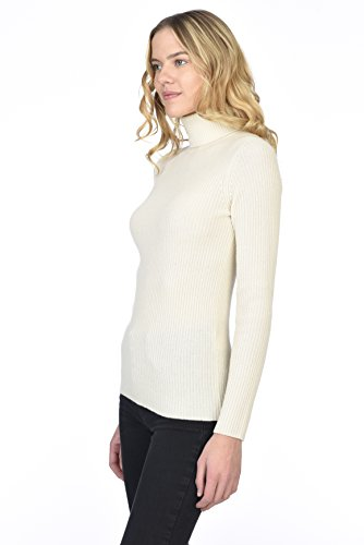39f981a99b3 ... Cashmere Long Sleeve Pullover Ribbed Turtleneck Sweater Ivory S.   