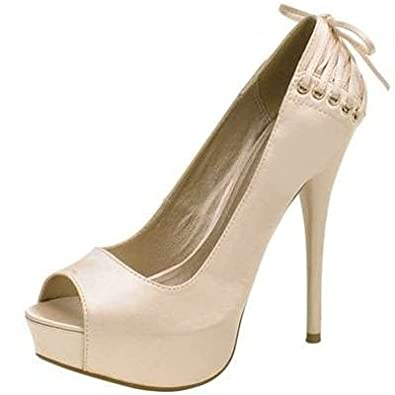 Amazon.com | Qupid Nude Satin Peep Toe Pumps with Lace Tie Back ...