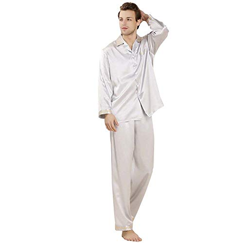 Home Sleepwear Manica Uomo Da Pigiama Autunno 2 Marca Silber Primavera Lunga Loungewear Momme Pezzi Top Pantaloni Bolawoo Mode Di Lungo qUaxUY