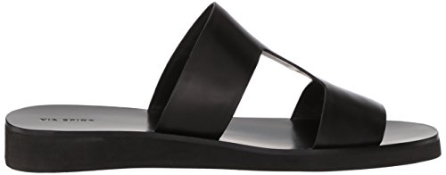 Spiga Black Via Women's Leather Flat Sandal Blanka RPqCn7HZ