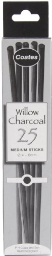 PH Coates Willow Charcoal 25/Pkg-Thin 3-4mm (Sticks Thin)