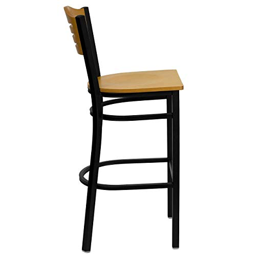 Flash Furniture HERCULES Series Black Slat Back Metal Restaurant Barstool – Natural Wood Back Seat