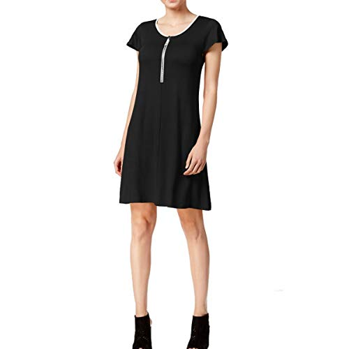 kensie Women's Drapey French Terry Dress, Black Combo, M