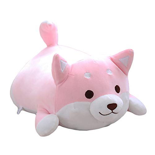 Shiba Inu Dog Plush Pillow, Cute Soft Corgi Stuffed Animals Doll Toys Gifts for Valentine, Christmas, Birthday, Bed, Sofa Chair (Pink Round Eye, 13.5in)