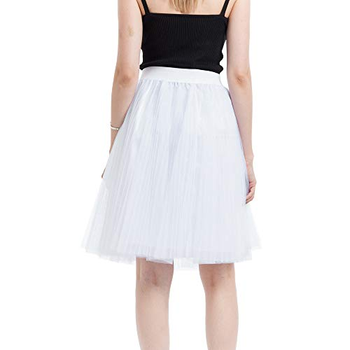 Usstore  Women Junior Girls Mesh Tulle Skirt Sexy Fashion Elegant 4-Layers Pleated Princess Bubble Banquet Tutu Mini Skirt (Free Size, J)
