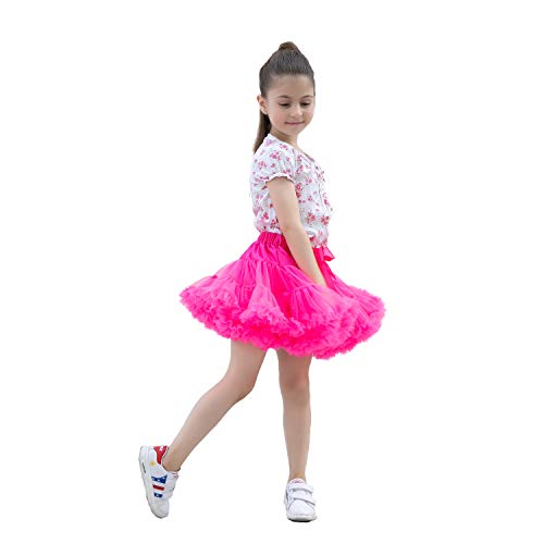 kephy Baby Extra Fluffy Princess Tutu Skirt Little Girl Pleated Tulle Skirt Birthday Dance Pettiskirt (0-10T) m Hot Pink -