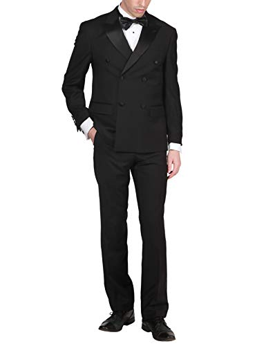 Adam Baker by Mantoni Men's M40901 Double Breasted 100% Wool Peak Lapel Tuxedo - Black - 44R