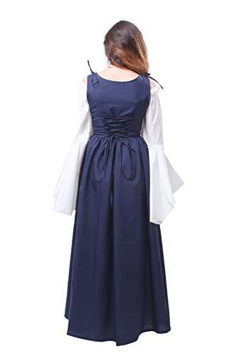 Lemail Womens Renaissance Medieval Irish Costume Irish Over Dress Boho Chemise Navy Blue L by Lemail wig (Image #4)
