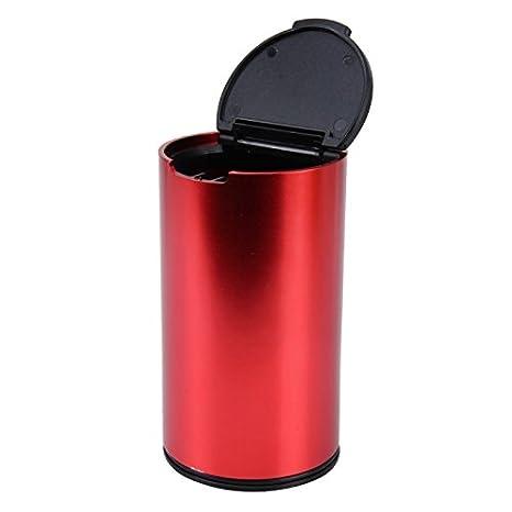 Wewoo jg-036 Universal Portátil Coche Auto en Acero Inoxidable Papelera de Recogida de Bin Cenicero para la Mayoría portavasos Rojo: Amazon.es: Coche y moto