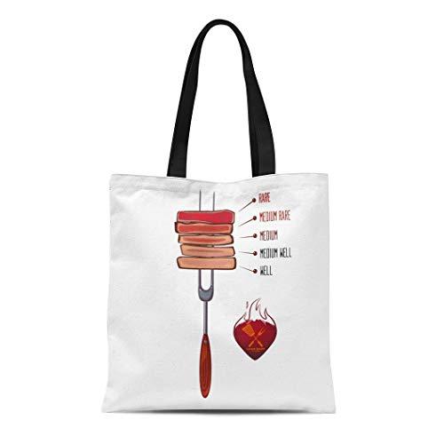 Semtomn Canvas Tote Bag Shoulder Bags Brown Done Slices of Beef Steak on Fork Doneness Women's Handle Shoulder Tote Shopper Handbag ()