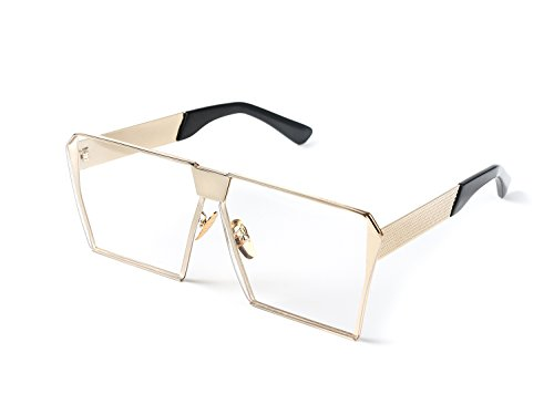 b37513147c4 Simplee Unisex Mens Womens Oversized Square Sunglasses Metal Frame Flat  Lens Glasses - Buy Online in Oman.